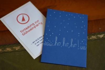 Einladungskarte; Einladung Zur Glühweinparty, Blauer Umschlag, Ho Ho Ho